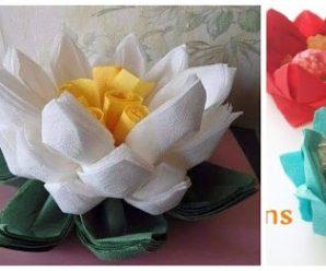 Aprende cómo hacer flores de loto con servilletas de papel