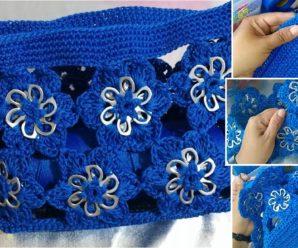 Bolso Tejido a Crochet Con Flores de tejidas con anillas o fichas