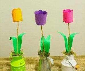 Cómo hacer tulipanes de papel en casa PASO A PASO