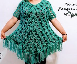 Como tejer Poncho a Crochet con Mangas