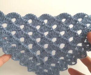 Aprende a tejer Hermoso Chal a Crochet + Patron Gratis
