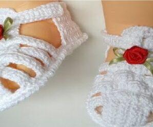 Preciosa Sandalia melissa a crochet 0 a 3 meses Paso a paso