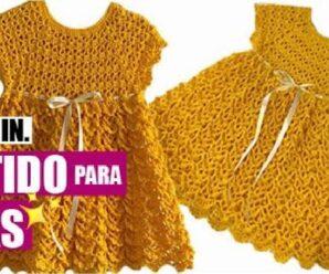 Aprende a Tejer Precioso VESTIDO de niña a Crochet + Patrones