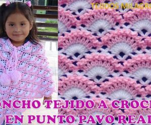 Te enseñamos Poncho o Capa tejida a crochet en Punto pavo Real