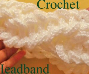 Hermosa Diadema a Crochet en punto de argollas gruesas