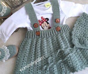 Precioso Vestido de BEBE con Gorrito a Crochet PASO A PASO