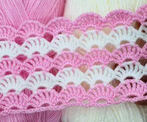 Puntada Abanicos para Tejer Manta de Bebe a Crochet